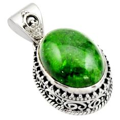 10.54cts natural green chrome diopside oval 925 sterling silver pendant r17773