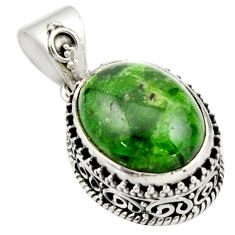 10.54cts natural green chrome diopside 925 sterling silver pendant r17774