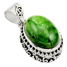 9.72cts natural green chrome diopside 925 sterling silver pendant jewelry r17775