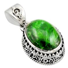 10.33cts natural green chrome diopside 925 sterling silver pendant r17778