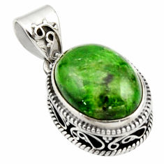 925 sterling silver 10.30cts natural green chrome diopside oval pendant r17779
