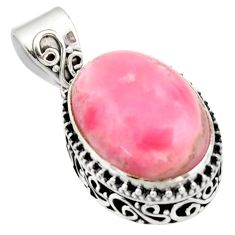 12.65cts natural pink opal oval 925 sterling silver pendant jewelry r17783