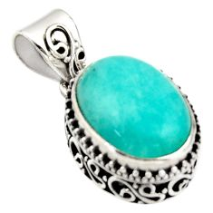 9.65cts natural green peruvian amazonite 925 sterling silver pendant r17802
