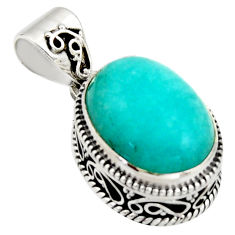 10.06cts natural green peruvian amazonite 925 sterling silver pendant r17803