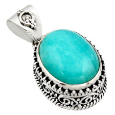 925 silver 10.35cts natural green peruvian amazonite oval pendant r17804