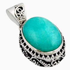 10.60cts natural green peruvian amazonite 925 sterling silver pendant r17805