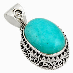 9.70cts natural green peruvian amazonite 925 sterling silver pendant r17806
