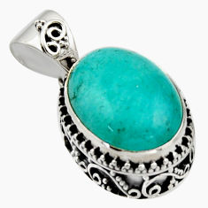 10.60cts natural green peruvian amazonite 925 sterling silver pendant r17808