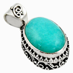 10.12cts natural green peruvian amazonite 925 sterling silver pendant r17809