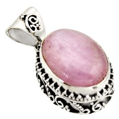9.63cts natural pink morganite 925 sterling silver pendant jewelry r17838