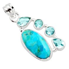 13.28cts blue arizona mohave turquoise topaz 925 sterling silver pendant r17861