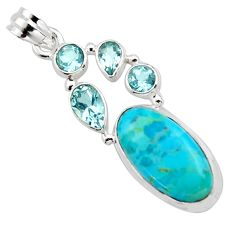 13.67cts blue arizona mohave turquoise topaz 925 sterling silver pendant r17862