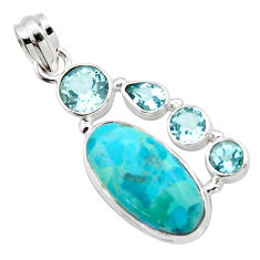 14.08cts blue arizona mohave turquoise topaz 925 sterling silver pendant r17863