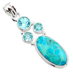 12.36cts blue arizona mohave turquoise topaz 925 sterling silver pendant r17865