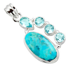 925 sterling silver 12.79cts blue arizona mohave turquoise topaz pendant r17866
