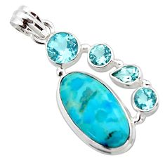 13.18cts blue arizona mohave turquoise topaz 925 sterling silver pendant r17868