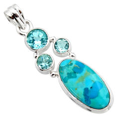 12.36cts blue arizona mohave turquoise topaz 925 sterling silver pendant r17871