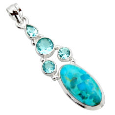 14.08cts blue arizona mohave turquoise topaz 925 sterling silver pendant r17872
