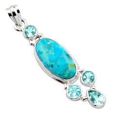 925 sterling silver 14.02cts blue arizona mohave turquoise topaz pendant r17873