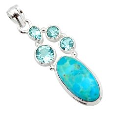 925 silver 13.28cts blue arizona mohave turquoise oval topaz pendant r17875