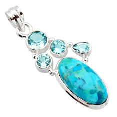 13.59cts blue arizona mohave turquoise topaz 925 sterling silver pendant r17876
