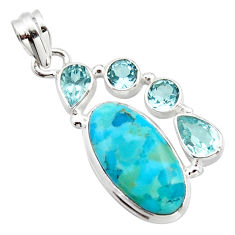 13.28cts blue arizona mohave turquoise topaz 925 sterling silver pendant r17877