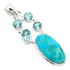 925 sterling silver 13.28cts blue arizona mohave turquoise topaz pendant r17878