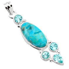 13.71cts blue arizona mohave turquoise topaz 925 sterling silver pendant r17880