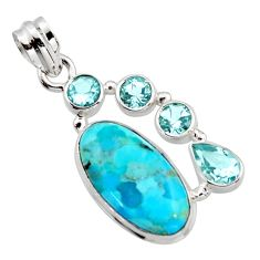 12.83cts blue arizona mohave turquoise topaz 925 sterling silver pendant r17899