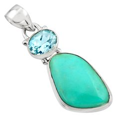 14.72cts natural green campitos turquoise topaz 925 silver pendant r17961
