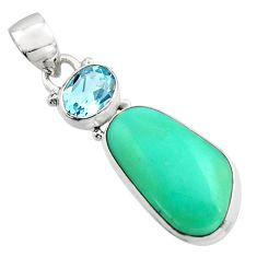 14.72cts natural green campitos turquoise topaz 925 silver pendant r17963