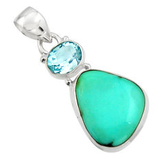 925 silver 14.72cts natural green campitos turquoise fancy topaz pendant r17964