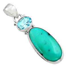 15.05cts natural green campitos turquoise topaz 925 silver pendant r17965
