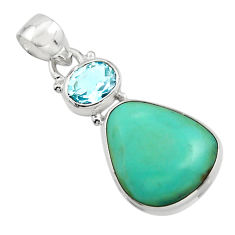 14.23cts natural green campitos turquoise topaz 925 silver pendant r17966