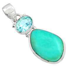 13.67cts natural green campitos turquoise topaz 925 silver pendant r17967