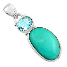 925 silver 14.68cts natural green campitos turquoise topaz pendant r17968