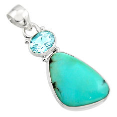 15.65cts natural green campitos turquoise topaz 925 silver pendant r17972