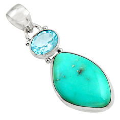 15.05cts natural green campitos turquoise topaz 925 silver pendant r17973