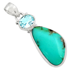 925 silver 16.73cts natural green campitos turquoise fancy topaz pendant r17974