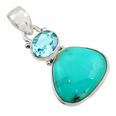 14.72cts natural green campitos turquoise topaz 925 silver pendant r17975
