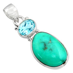 14.72cts natural green campitos turquoise topaz 925 silver pendant r17976