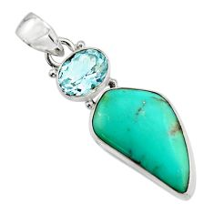 14.72cts natural green campitos turquoise topaz 925 silver pendant r17979