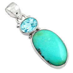 14.68cts natural green campitos turquoise topaz 925 silver pendant r17980