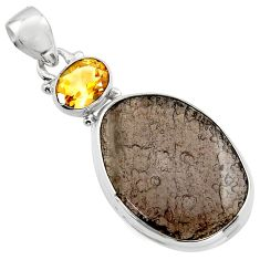 18.68cts natural brown agni manitite citrine 925 sterling silver pendant r17983