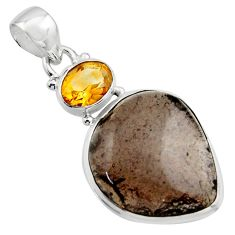 18.10cts natural brown agni manitite citrine 925 sterling silver pendant r17985