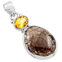 925 sterling silver 18.12cts natural brown agni manitite citrine pendant r17987
