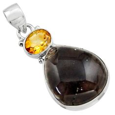 19.23cts natural brown agni manitite citrine 925 sterling silver pendant r17990