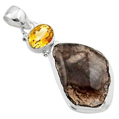 925 sterling silver 19.72cts natural brown agni manitite citrine pendant r17991
