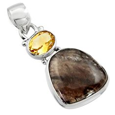 15.05cts natural brown agni manitite citrine 925 sterling silver pendant r17992