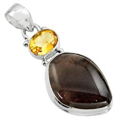 16.73cts natural brown agni manitite citrine 925 sterling silver pendant r17993